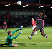 Leeds United's Eddie Nketiah goes close under pressure from Salford City's Chris Neal<br /> <br /> Photographer Alex Dodd/CameraSport<br /> <br /> The Carabao Cup First Round - Salford City v Leeds United - Tuesday 13th August 2019 - Moor Lane - Salford<br />  <br /> World Copyright © 2019 CameraSport. All rights reserved. 43 Linden Ave. Countesthorpe. Leicester. England. LE8 5PG - Tel: +44 (0) 116 277 4147 - admin@camerasport.com - www.camerasport.com