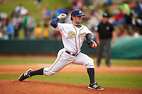Montgomery Biscuits pitcher Mikey O'Brien (24) delivers a pitch during a game against the Jackson Generals on April 29, 2015 at Riverwalk Stadium in Montgomery, Alabama.  Jackson defeated Montgomery 4-3.  (Mike Janes/Four Seam Images)
