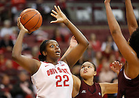 Ohio State's Darryce Moore (22) looks for someone to pass to during a women's basketball game between the Ohio State Buckeyes and the North Carolina Central Eagles on December 29, 2013 at Value City Arena. (Columbus Dispatch photo by Fred Squillante)