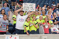 Bridgeview, IL, USA - Sunday, May 29, 2016: Chicago Red Stars fans after a regular season National Women's Soccer League match between the Chicago Red Stars and Sky Blue FC at Toyota Park. The game ended in a 1-1 tie.