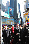 Barry Manilow & Todd Asher (NY Mayor's Office) unveiling the new street sign 'Manilow Way' on West 44th Street in a renaming ceremony celebrating 'Manilow on Broadway' at the St. James Theatre in New York City on 1/22/2013
