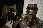 WASHINGTON, DC - DECEMBER 3 : President Donald J. Trump and first lady Melania Trump walk by a statue of former President Andrew Jackson as they arrive to pay their respects to former president George H.W. Bush as he lies in State at the U.S. Capitol Rotunda on Capitol Hill on Monday, Dec. 03, 2018 in Washington, DC. (Photo by Jabin Botsford/Pool)