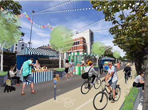 An artist's impression of the new 'DLR Coastal Mobility intervention' at Queens Road as envisioned by DLRCoCo