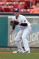 Buffalo Bisons infielder Zach Lutz #3 during a game against the Pawtucket Red Sox at Coca-Cola Field on April 15, 2012 in Buffalo, New York.  Buffalo defeated Pawtucket 10-9 in ten innings.  (Mike Janes/Four Seam Images)