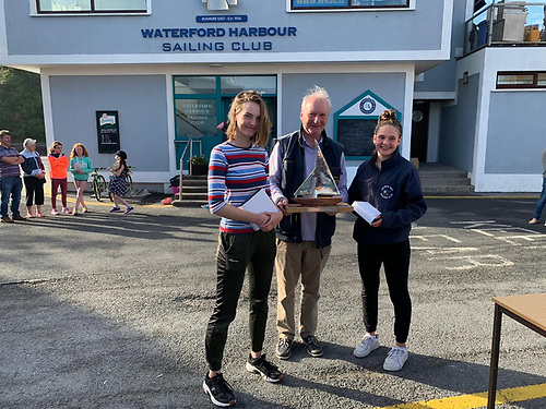 3rd Place Gold and first placed girls - Isabella Irwin and Olivia Cure Galway Bay Sailing Club