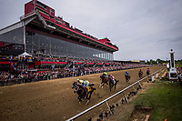 BALTIMORE, MD - MAY 20:  Always Dreaming #4 with John Velazquez up battles with Classic Empire #5 and Julien Leparoux for early position in the Preakness Stakes at Pimlico Race Course on May 20, 2017 in Baltimore, Maryland. (Photo by Alex Evers/Eclipse Sportswire/Getty Images)
