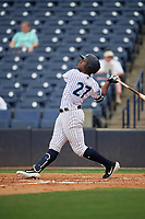 Tampa Tarpons Steven Sensley (27) at bat during a Florida State League game against the Lakeland Flying Tigers on April 7, 2019 at George M. Steinbrenner Field in Tampa, Florida.  Tampa defeated Lakeland 3-2.  (Mike Janes/Four Seam Images)