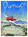 Punch - Spring Number - 29 March 1939<br /> Cover showing Mr Punch flying a plane above an RAF camp<br /> Cartoon by Leslie Illingworth