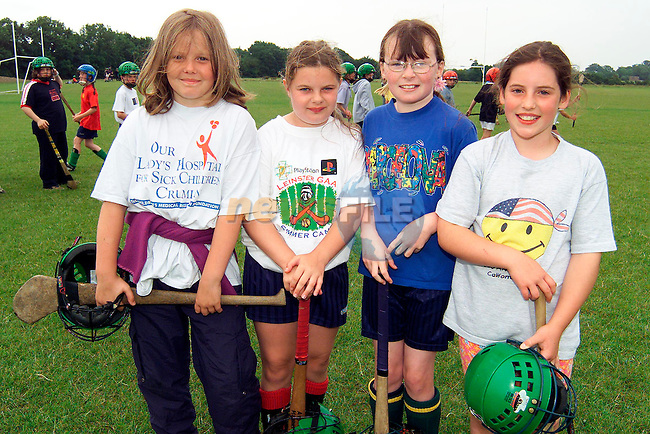 Helen Woods, Salterstown, Amy Murray, Collon, Olga Crehan, Williamstown and Clara Brennan, Termonfeckin at the Hurling Camp in The Fechins GAA pitch..Picture: Paul Mohan/Newsfile