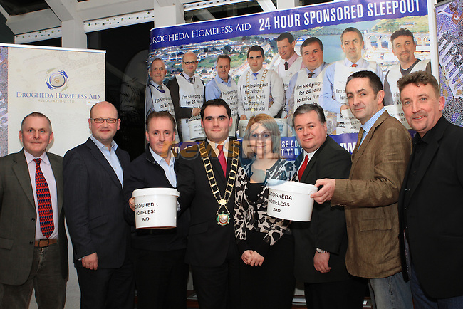 Frank Gallagher, Ged Nash, Ken O' Heiligh, Mayor Kevin Callan, Paul Bell, Richie Culhane and Paddy McQuillan with Karen Smith at the Launch of the Homeless Aid Sleepout in the Westcourt Hotel...(Photo credit should read Jenny Matthews www.newsfile.ie)....This Picture has been sent you under the conditions enclosed by:.Newsfile Ltd..The Studio,.Millmount Abbey,.Drogheda,.Co Meath..Ireland..Tel: +353(0)41-9871240.Fax: +353(0)41-9871260.GSM: +353(0)86-2500958.email: pictures@newsfile.ie.www.newsfile.ie.