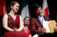 First prize winner Melanie Laurent from France, left, is congratulated by second prize winner Valerio Lisci from Italy during the awards ceremony of the 11th USA International Harp Competition at Indiana University in Bloomington, Indiana on Saturday, July 13, 2019. (Photo by James Brosher)
