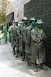A statue depicting a Great Depression bread line of the 1930's at at the Franklin Delano Roosevelt Memorial Washington D.C.,