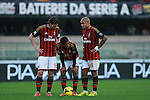 AC Milan players in action during the Serie A football match Chievo Verona vs AC Milan at Verona, on November 10, 2013.