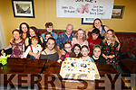 Danny and Kay Dunne from Clahane Ballyard celebrating their double 70th birthdays, surrounding by 5 daughters and 9 grandchildren in the Brogue Inn on Saturday night.