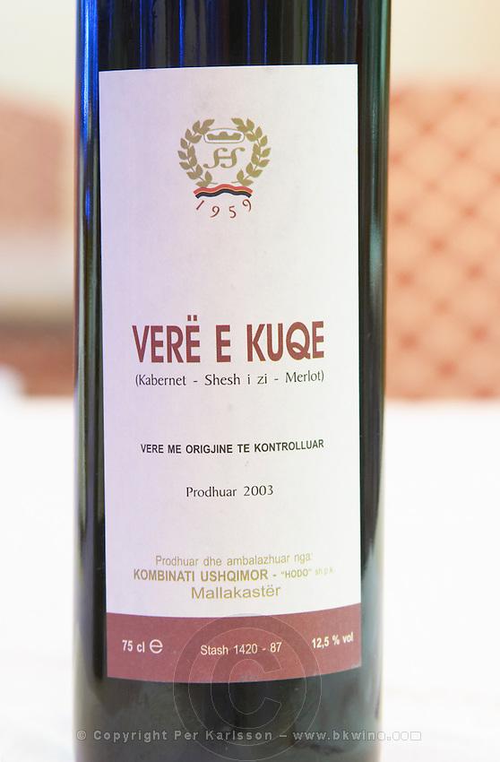 Bottle of Vere e Kuqe Kabernet Cabernet Sauvignon Sheshi i zi Syrah Merlot 2003 Kombinatio Ushqimor, Mallakaster. Tirana capital. Albania, Balkan, Europe.