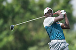 Dwight Yorke tees off the 6th hole during the World Celebrity Pro-Am 2016 Mission Hills China Golf Tournament on 23 October 2016, in Haikou, Hainan province, China. Photo by Marcio Machado / Power Sport Images
