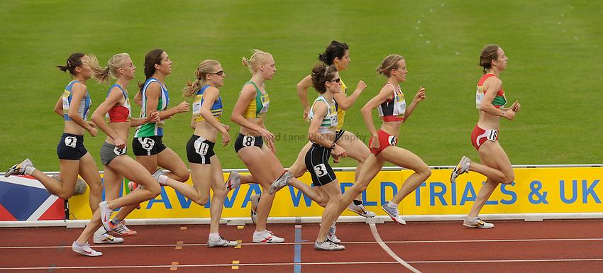 Photo: Ady Kerry/Richard Lane Photography..Aviva World Trials & UK Championships athletics. 11/07/2009. .Stephanie Twell leads the 1500m round.