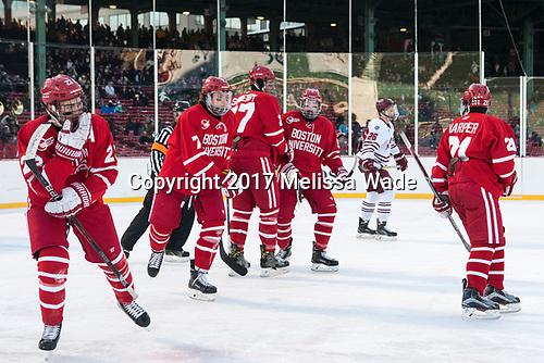 Jakob Forsbacka Karlsson (BU - 23), Charlie McAvoy (BU - 7), Doyle Somerby (BU - 27), Kieffer Bellows (BU - 9), Patrick Harper (BU - 21) - The Boston University Terriers defeated the University of Massachusetts Minutemen 5-3 on Sunday, January 8, 2017, at Fenway Park in Boston, Massachusetts.The Boston University Terriers defeated the University of Massachusetts Minutemen 5-3 on Sunday, January 8, 2017, at Fenway Park.