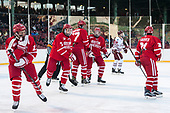 Jakob Forsbacka Karlsson (BU - 23), Charlie McAvoy (BU - 7), Doyle Somerby (BU - 27), Kieffer Bellows (BU - 9), Patrick Harper (BU - 21) - The Boston University Terriers defeated the University of Massachusetts Minutemen 5-3 on Sunday, January 8, 2017, at Fenway Park in Boston, Massachusetts.The Boston University Terriers defeated the University of Massachusetts Minutemen 5-3 on Sunday, January 8, 2017, at Fenway Park.