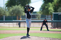 Chicago White Sox relief pitcher Wilber Perez (43) gets ready to deliver a pitch during an Instructional League game against the Kansas City Royals at Camelback Ranch on September 25, 2018 in Glendale, Arizona. (Zachary Lucy/Four Seam Images)