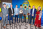 CBS students and teachers attending the CBS Sports Award evening in the Rose Hotel on Thursday.<br /> L to r: Robert Flaherty (Vice Principal), Teachers Damien McLoughlin and Marc O'Shea, Tadhg Brick (Captain of Senior Football), Jake Foley (1st yr Footballer of the Year), Josh Lynch (Junior Footballer of the Year), Fergus Clifford (Teacher) and Ann O'Callaghan (Principal).