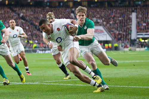 27.02.2016. Twickenham, London, England. RBS Six Nations Championships. England versus Ireland. England wing Anthony Watson is tackled.
