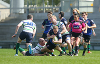 Monday 22nd April 2019 | 2019 McCrea Cup Final<br /> <br /> Curtis Dundass is tackled during the McCrea Cup final between Queens 2s and Grosvenor at Kingspan Stadium, Ravenhill Park, Belfast. Northern Ireland. Photo John Dickson/Dicksondigital