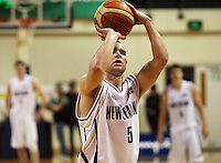 Tall Blacks guard Mike Fitchett shoots a penalty during the International basketball match between the NZ Tall Blacks and Australian Boomers at TSB Bank Arena, Wellington, New Zealand on 25 August 2009. Photo: Dave Lintott / lintottphoto.co.nz