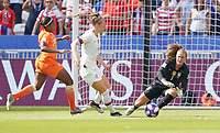 DECINES-CHARPIEU, FRANCE - JULY 07: Alyssa Naeher #1 during the 2019 FIFA Women's World Cup France Final match between Netherlands and the United States at Groupama Stadium on July 07, 2019 in Decines-Charpieu, France.