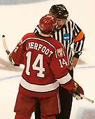 Alexander Kerfoot (Harvard - 14), Jamie Koharski - The University of Minnesota Duluth Bulldogs defeated the Harvard University Crimson 2-1 in their Frozen Four semi-final on April 6, 2017, at the United Center in Chicago, Illinois.