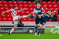11th January 2020; Bet365 Stadium, Stoke, Staffordshire, England; English Championship Football, Stoke City versus Milwall FC; Jayson Molumby of Millwall and Joe Allen of Stoke City - Strictly Editorial Use Only. No use with unauthorized audio, video, data, fixture lists, club/league logos or 'live' services. Online in-match use limited to 120 images, no video emulation. No use in betting, games or single club/league/player publications
