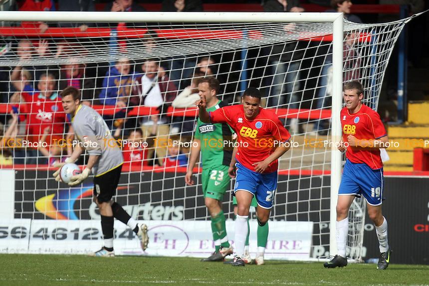 Troy Brown of Aldershot Town celebrates scoring the opening Shots goal -  Aldershot vs Dagenham at the EBB Stadium - 14/04/12 - MANDATORY CREDIT: Dave Simpson/TGSPHOTO - Self billing applies where appropriate - 0845 094 6026 - contact@tgsphoto.co.uk - NO UNPAID USE.