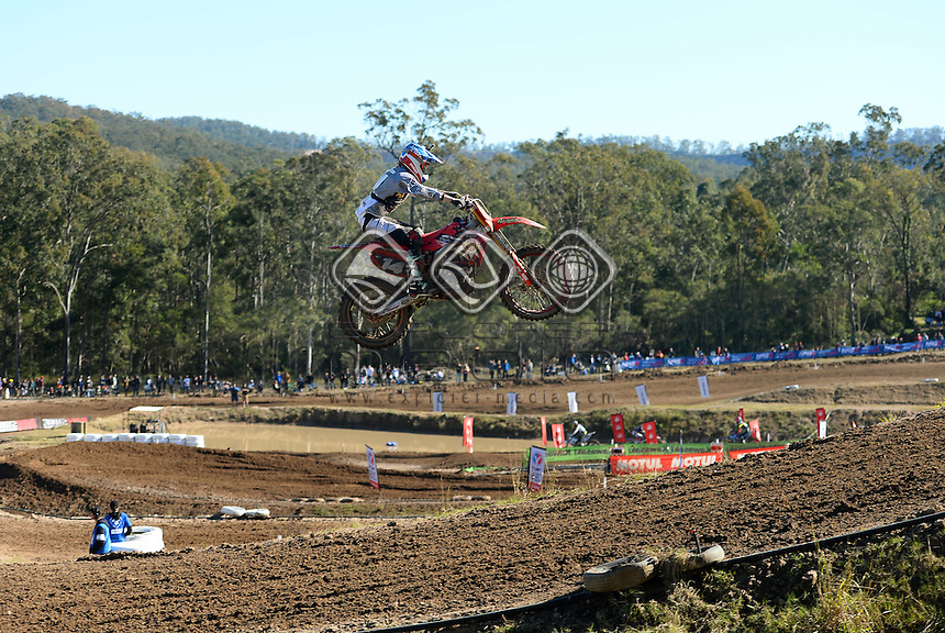 Geran Stapleton / Honda<br /> MX Nationals / Round 6 / MX2<br /> Australian Motocross Championships<br /> Raymond Terrace NSW<br /> Sunday 5 July 2015<br /> &copy; Sport the library / Jeff Crow