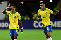 BUCARAMANGA - COLOMBIA, 06-02-2020: Pedrinho Pedro Delmino de Brasil celebra después de anotar el primer gol de su equipo durante partido entre Brasil U-23 Y Uruguay U-23 por el cuadrangular final como parte del torneo CONMEBOL Preolímpico Colombia 2020 jugado en el estadio Alfonso Lopez en Bucaramanga, Colombia. / Pedrinho Pedro Delmino of Brazil celebrates after scoring the first goal of his team during the match between Brazil U-23 and Uruguay U-23 for the final quadrangular as part of CONMEBOL Pre-Olympic Tournament Colombia 2020 played at Alfonso Lopez stadium in Bucaramanga, Colombia. Photo: VizzorImage / Julian Medina / Cont