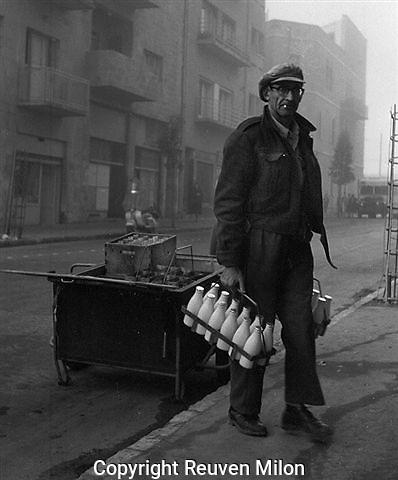 Jerusalem milk man on foggy morning. Delivery of milk, Jerusalem 1959.