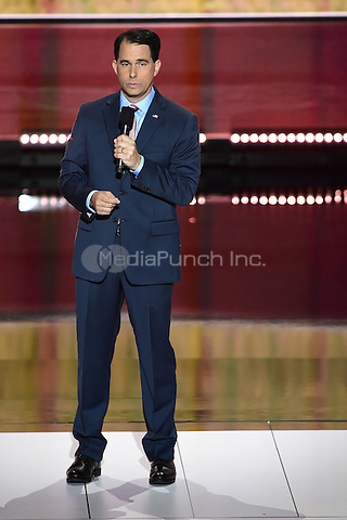 Governor Scott Walker (Republican of Wisconsin) makes remarks at the 2016 Republican National Convention held at the Quicken Loans Arena in Cleveland, Ohio on Wednesday, July 20, 2016.<br /> Credit: Ron Sachs / CNP/MediaPunch<br /> (RESTRICTION: NO New York or New Jersey Newspapers or newspapers within a 75 mile radius of New York City)