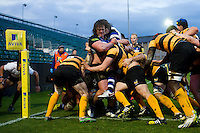 The Bath United pack in action. Aviva A-League match, between Bath United and Wasps A on December 28, 2016 at the Recreation Ground in Bath, England. Photo by: Patrick Khachfe / Onside Images