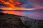 Sunrise over lake, Sarmiento Lake, Torres del Paine National Park, Patagonia, Chile
