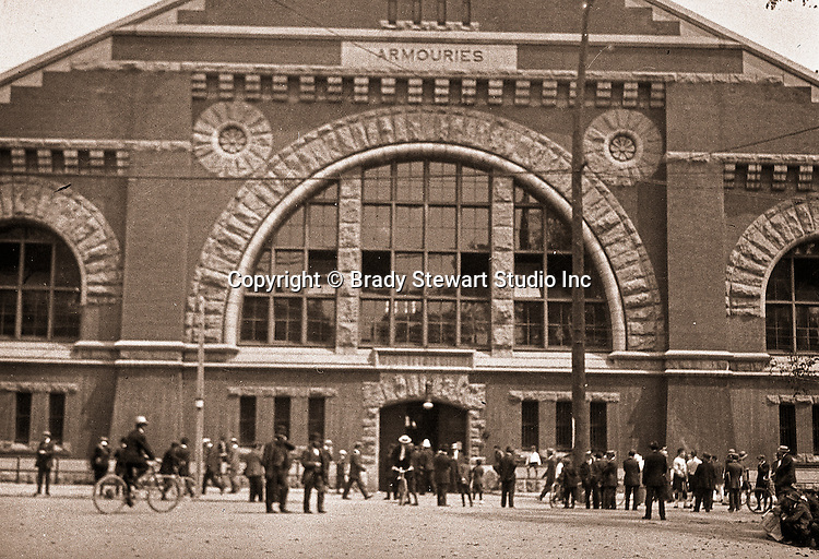 Toronto Ontario:  Crowd gathering at the Toronto Armoury for one of parades celebrating the 100th anniversay of the Battle of Lundy's Lane - 1914