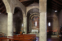 General interior view of Santa Maria de Taull Church, 1123, consecrated by Ramon Guillem, the bishop of Roda, Taull, Province of Lleida, Catalonia, Spain. The church was built with three naves, each ending with an apse. It was heavily renovated in the 18th century. Its frescoes were removed to the MNAC (National Art Museum of Catalonia, Barcelona) circa 1918. Santa Maria de Taull Church is part of the Catalan Romanesque churches of the Vall de Boí which were declared a World Heritage Site by UNESCO in November 2000. Picture by Manuel Cohen