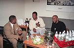 Comedians D.L. Hughley, John Weatherspoon Witherspoon & Damon Williams in the back-stage dressing room at the Bronco Bowl on May 3, 1998 in Dallas, Texas.  Photo credit: Presswire News Agency / Elgin Edmonds