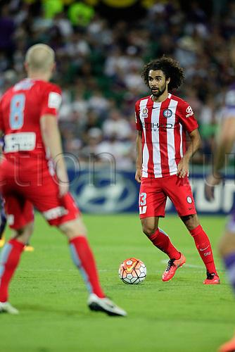 03.04.2016. NIB Stadium, Perth, Australia. Hyundai A League. Perth Glory versus Melbourne City. Osama Malik looks to pass forward during the second half.