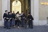 Roma, 14 Maggio 2012.Piazza Sant'Apollinare.Aperta la tomba di Enrico De Pedis detto Renatino boss della Banda della Magliana..Polizia e carabinieri davanti la pontificia università