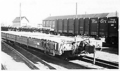 D&amp;RGW flat car #6741 and gondola #1551 on repair tracks in Alamosa.<br /> D&amp;RGW  Alamosa, CO  Taken by Berkstresser, George - 11/1967