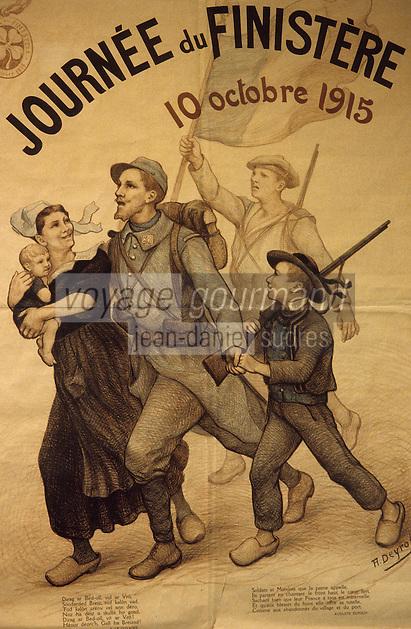 Europe/France/Bretagne/29/Finistère/Quimper : Musée départemental, affiche de la journée nationale du Finistère de 1915