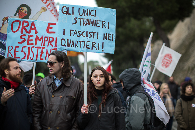 Macerata (Marche), 10/02/2018. Today, tens of thousands of people (30,000 for the organisers, 10,000 for the police forces) marched peacefully in Macerata &ndash; and in several other cities across Italy &ndash; to protest and fight against a revival of neo-fascist sentiment (with the ongoing electoral campaign for the 4th of March Italian General Election mainly based on the so-called &quot;Migrant Crisis&quot;), against racism, to show support and solidarity with the 6 African migrants wounded - Mahamadou Toure, Jennifer Otioto, Gideon Azeke, Wilson Kofi, Festus Omagbon, Omar Fadera &ndash; on the 3rd February 2018 by the far-right gunman Luca Traini. Initially, the protest was banned by the Mayor of Macerata supported by the Secretary of State (Ministro degli Interni) Marco Minniti due to risk of &quot;disorders and clashes&quot;, but at the end protesters and institutions agreed to go ahead with the march set up on the road which surrounds Macerata's city centre. From an online article of &quot;the Guardian&quot; (http://bit.ly/2nXgR8I): &lt;&lt;A failed election candidate for Italy's far-right Northern League has been arrested after a gunman targeted African migrants in a two-hour drive-by shooting spree in the Italian city of Macerata. Luca Traini, 28, was arrested after six people were shot in the small city near Italy's east coast, 200km (125 miles) east of Rome. Police said the attack appeared to be racially motivated. [&hellip;] The shootings happened days after a Nigerian was arrested in connection with the death of an 18-year-old Italian woman, Pamela Mastropietro, whose dismembered body was discovered hidden in two suitcases near Macerata [&hellip;]&gt;&gt;.<br /> <br /> For more information please click here: http://bit.ly/2EAbTsP<br /> <br /> For a video of the event by RAI TG3 please click here: http://bit.ly/2EfZNBD