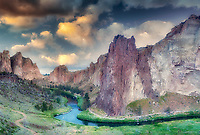Smith Rock State Park, with Crooked River and sunrise. Oregon