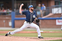 Asheville Tourists starting pitcher Grahamm Wiest (40) delivers a pitch during a game against the Greenville Drive on July 12, 2015 in Asheville, North Carolina. The Drive defeated the Tourists 9-3. (Tony Farlow/Four Seam Images)