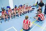 SCHIEDAM - NK reserveteams zaalhockey. Finale Tilburg D2-HDM D2 (1-3) . teambespreking  van HDM.    COPYRIGHT KOEN SUYK