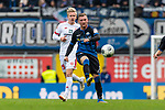 05.10.2019, Benteler Arena, Paderborn, GER, 1.FBL, SC Paderborn 07 vs 1. FSV Mainz 05<br /> <br /> DFL REGULATIONS PROHIBIT ANY USE OF PHOTOGRAPHS AS IMAGE SEQUENCES AND/OR QUASI-VIDEO.<br /> <br /> im Bild / picture shows<br /> Jonathan Burkardt (FSV Mainz 05 #29), <br /> Marlon Ritter (Paderborn #07), <br /> <br /> Foto © nordphoto / Ewert